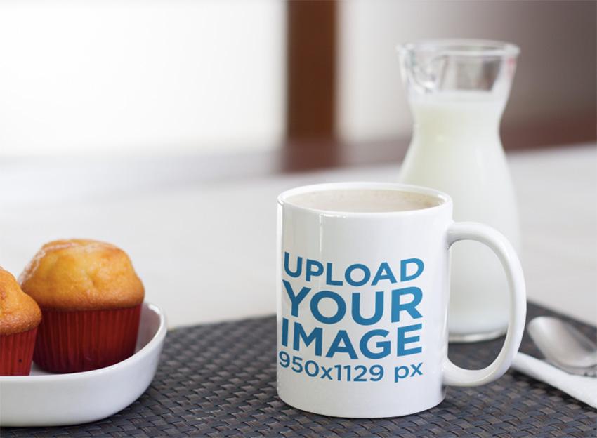 Mug Mockup with Muffins and Milk