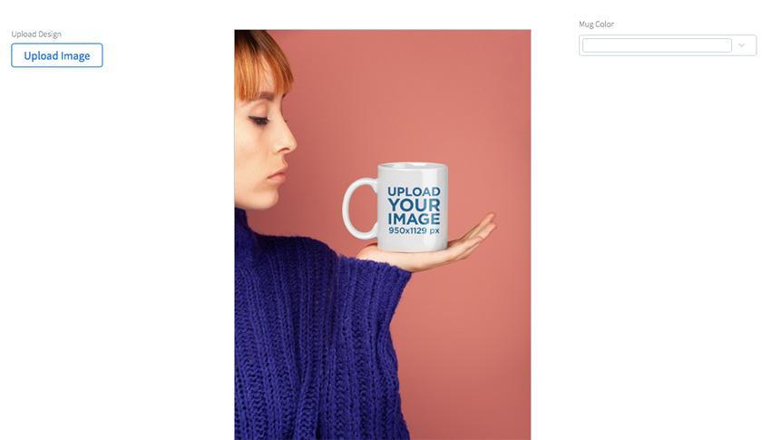 Coffee Mug Mockup Held by a Woman Wearing
