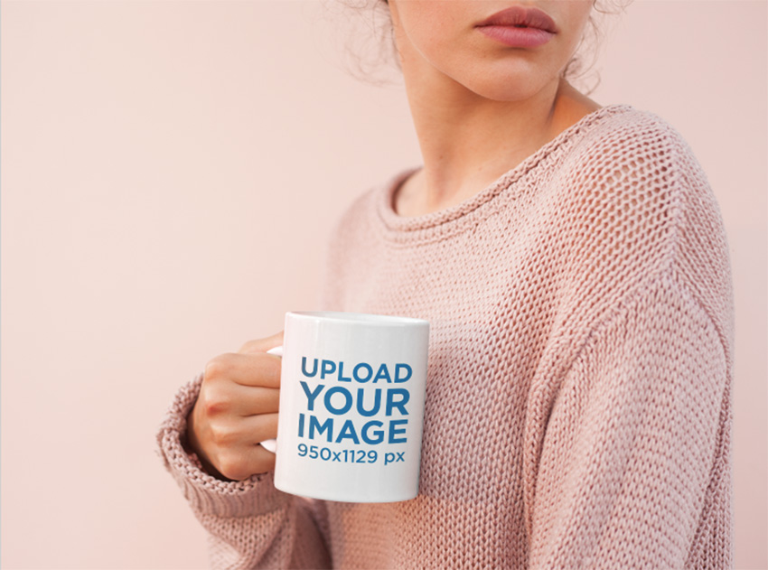 Coffee Mug Mockup Surrounded by Light Pink Tones