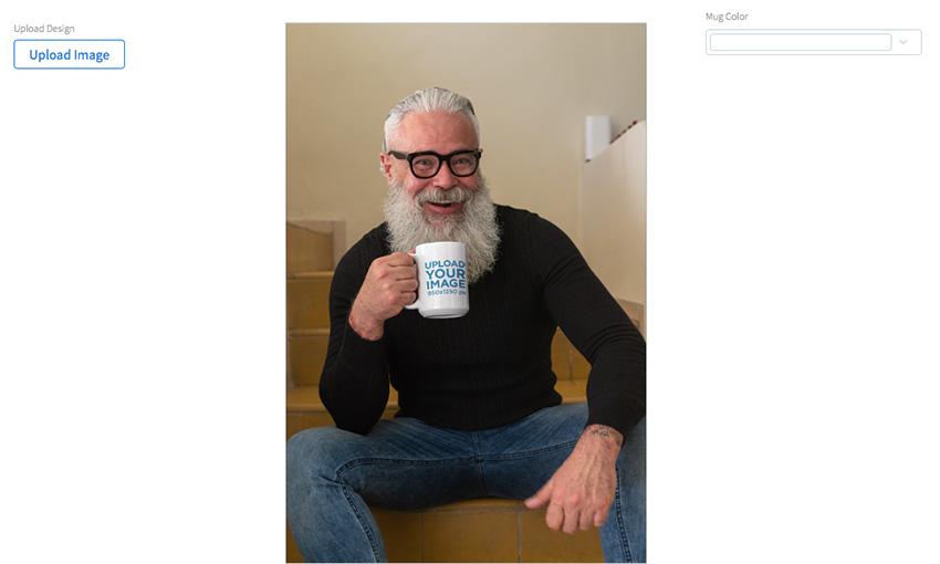 Mug Mockup of a Bearded Man Having Tea in the Stairs