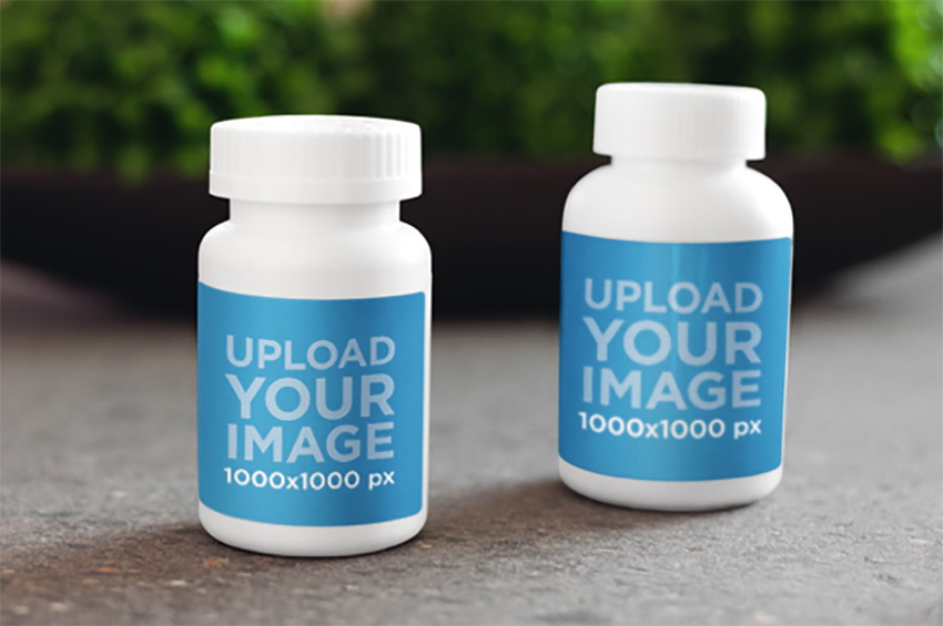 Label Mockup Featuring Two Medical Containers on Top of a Table
