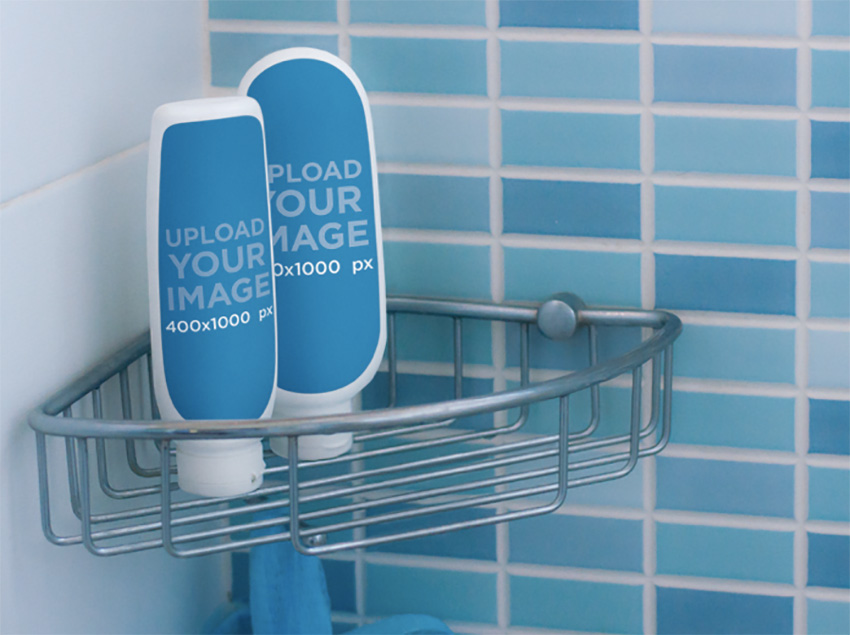 Label Mockup Featuring Two Shampoo Bottles in a Shower