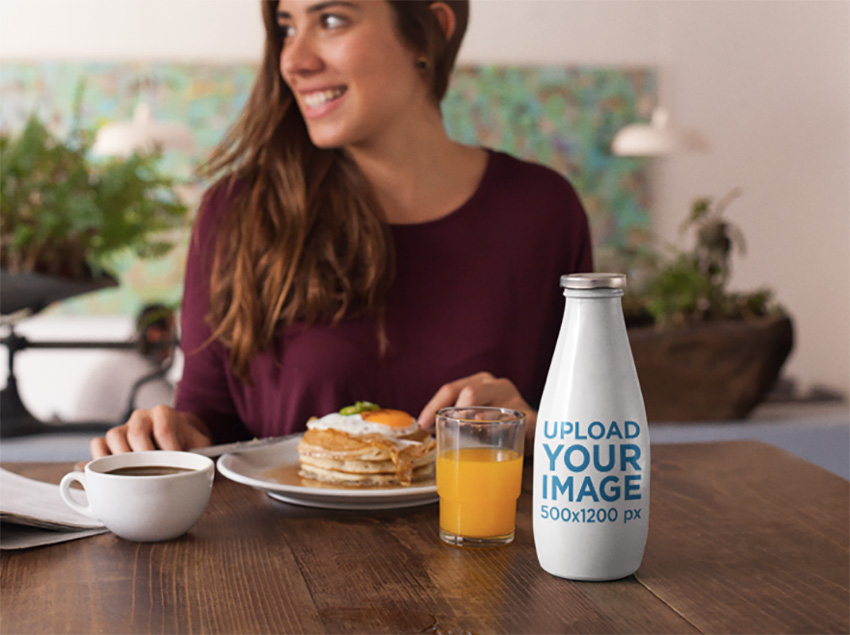Label Mockup Featuring a Milk Bottle at a Breakfast Table
