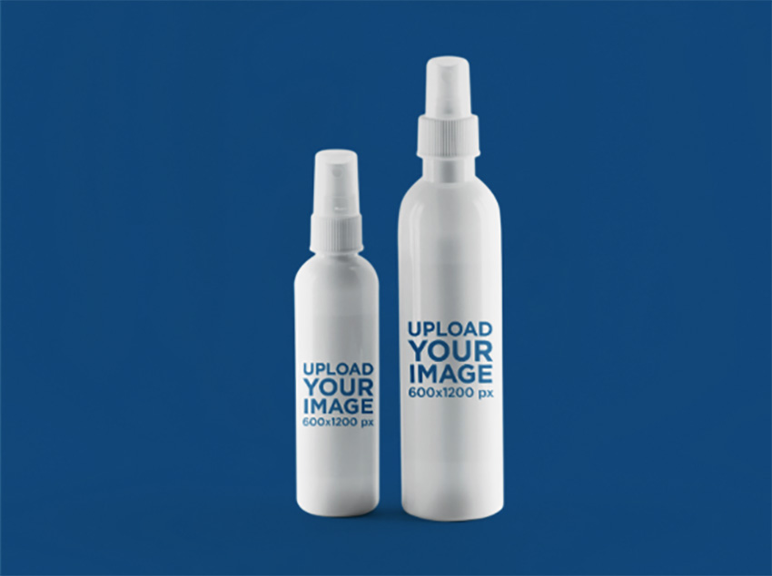 Label Mockup Featuring a Set of Two Spray Bottles