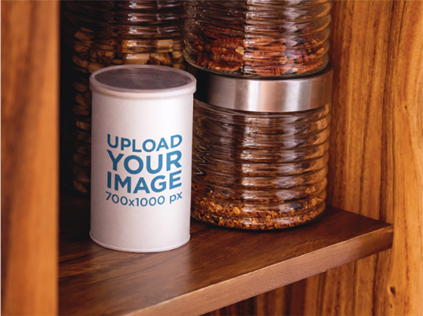 Packaging Mockup Featuring a Coffee Can in a Cupboard