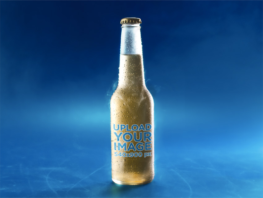 Very Cold Bottle of Lager Beer on a Blue Surface Mockup
