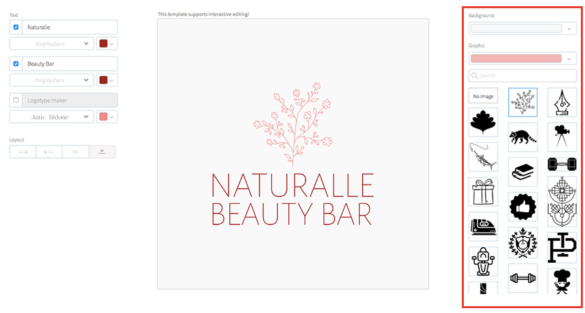 Select graphic symbol for your beauty logo