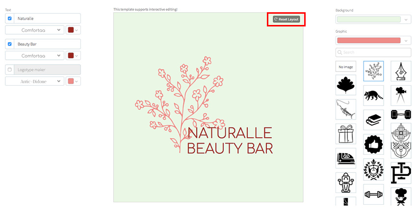 Resize the elements of your beauty logo