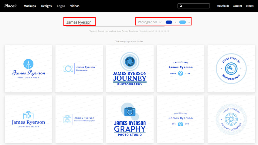 Placeit Logo Creator for Photography