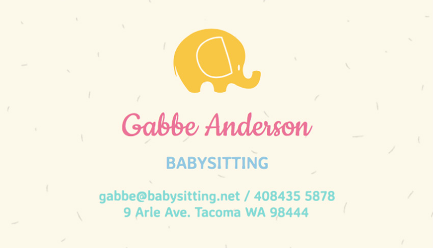 Babysitting Business Card Template