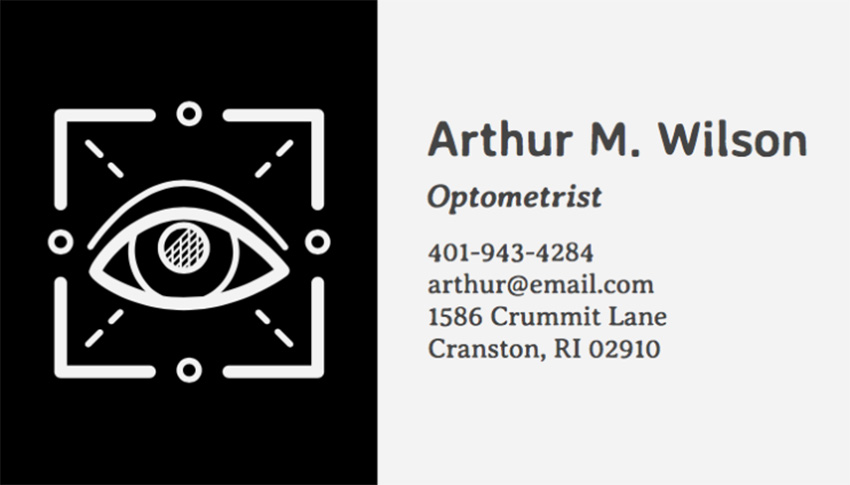 Business Card Template for Oculists with Eye Icon