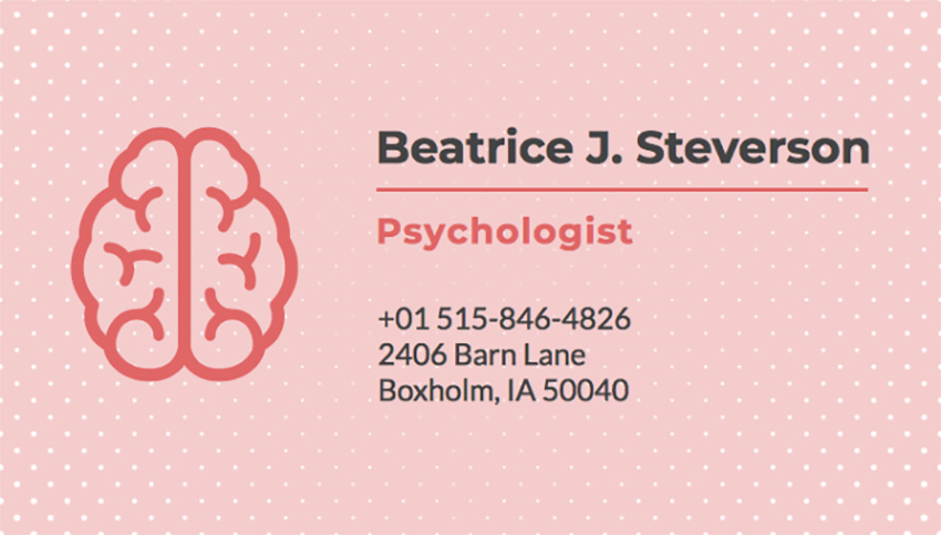Business Card Template for Psychologists with Pink Theme
