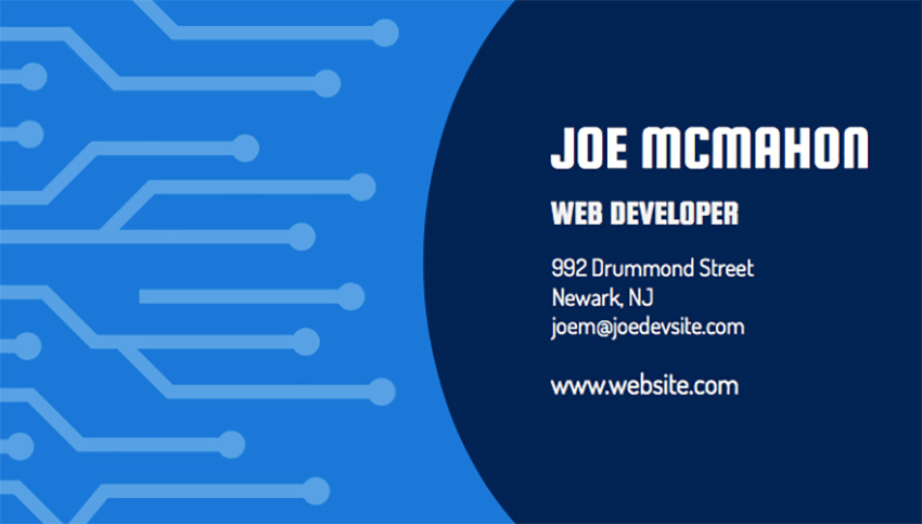 Motherboard Business Card Template for Web Developers