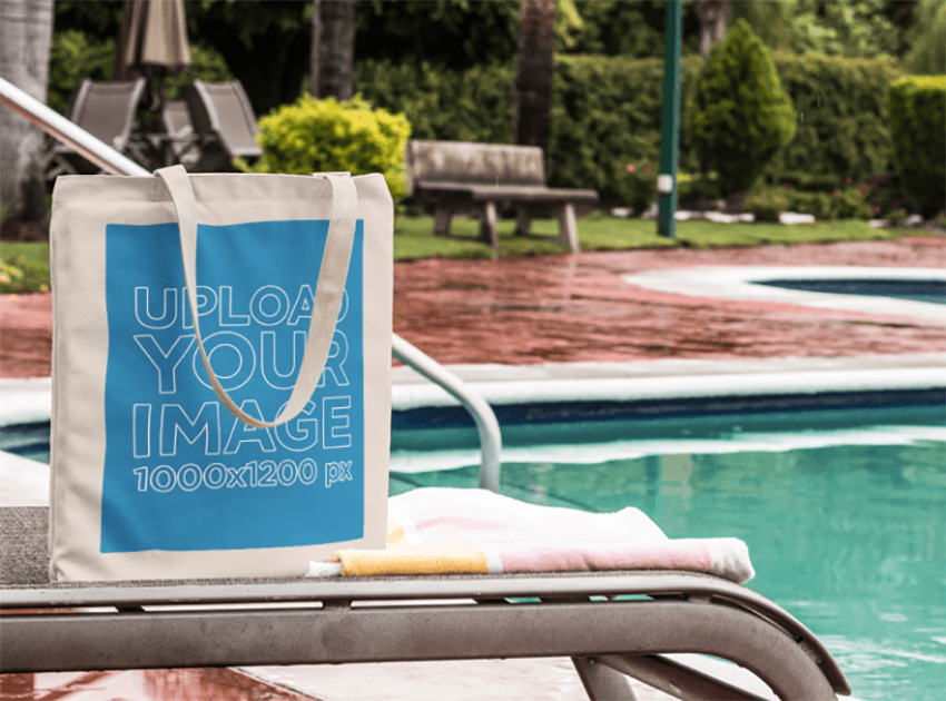Canvas Tote Bag Mockup by the Pool