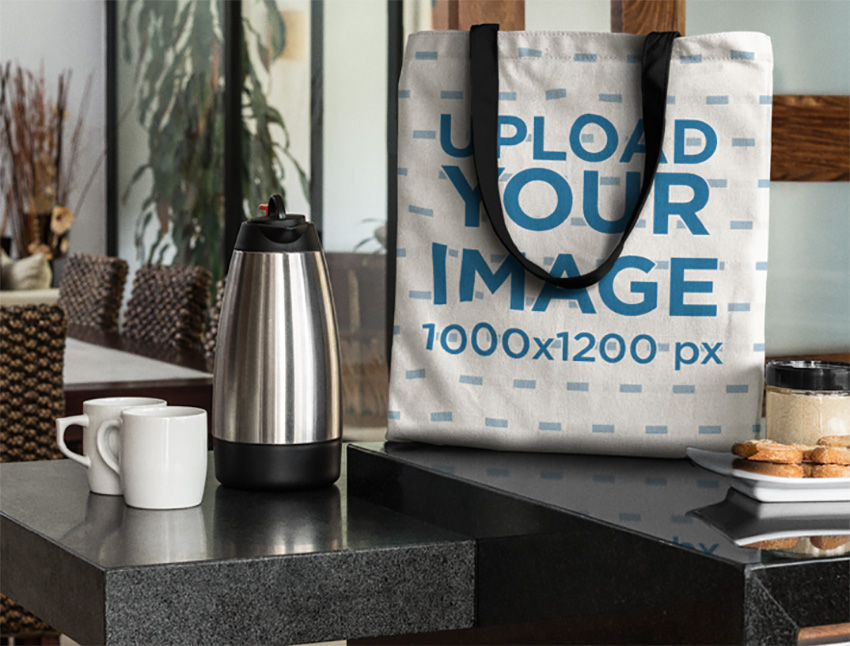 Canvas Tote Bag Mockup in a Modern Kitchen at Breakfast