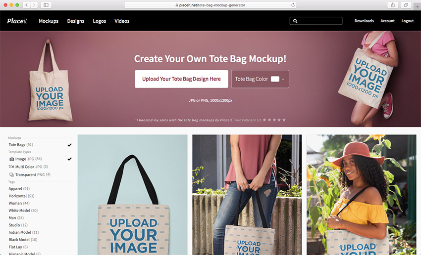 Placeits Tote Bag Mockup