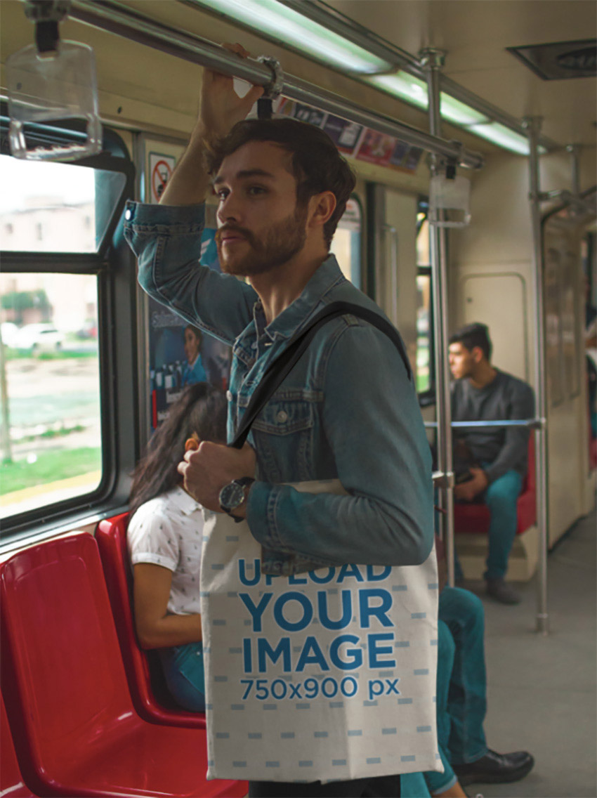 Tote Bag Mockup with Man in Train