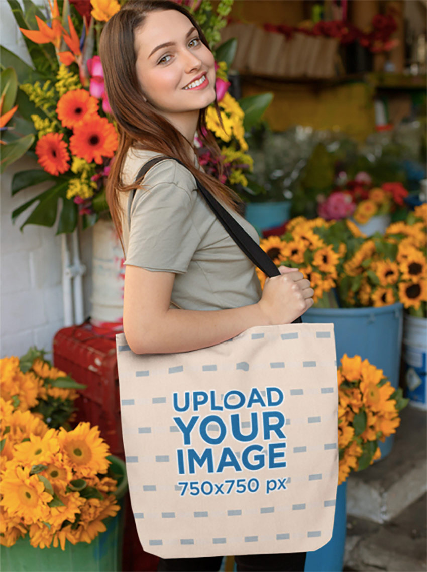 Tote Bag Mockup of a Girl at a Flower Shop