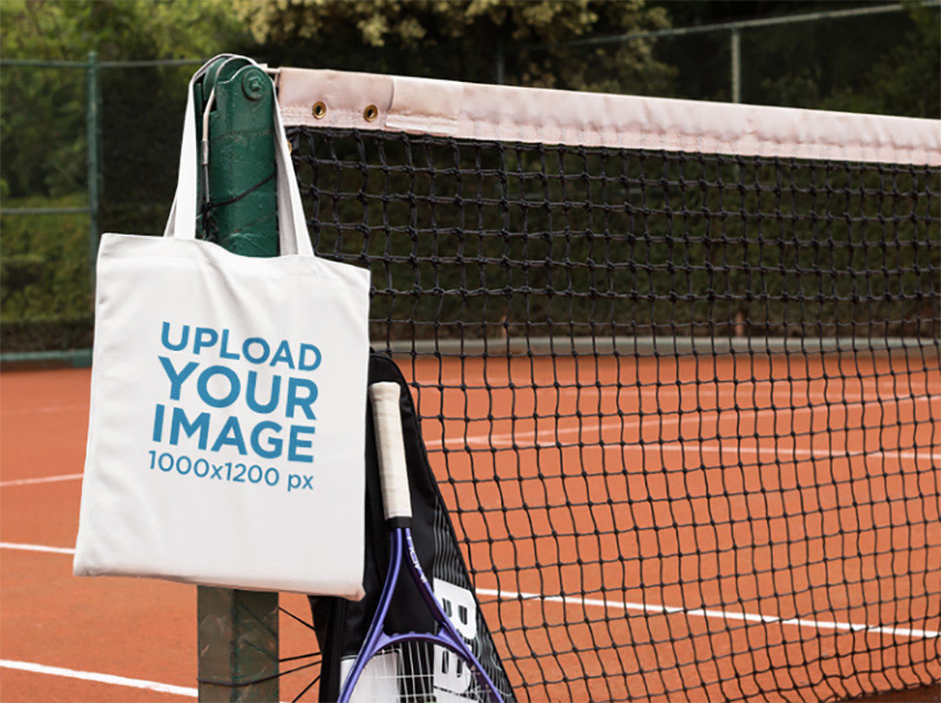 Tote Bag at a Tennis Court Mockup