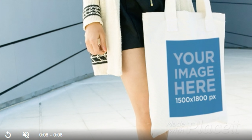 Video Of Beautiful Woman Holding A Tote Bag While In The City Mockup