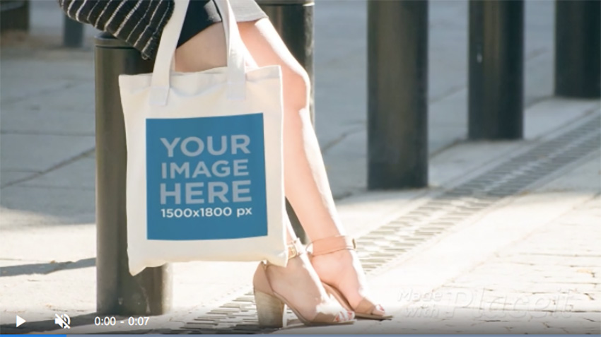 Woman Carrying A Tote Bag While At Downtown Mockup Video