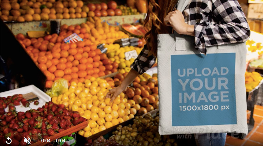Young Girl Carrying a Tote Bag Stop Motion While Doing Grocery