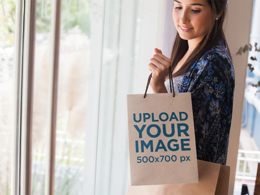Bag Mockup of a Woman Carrying a Set of Shopping Bags
