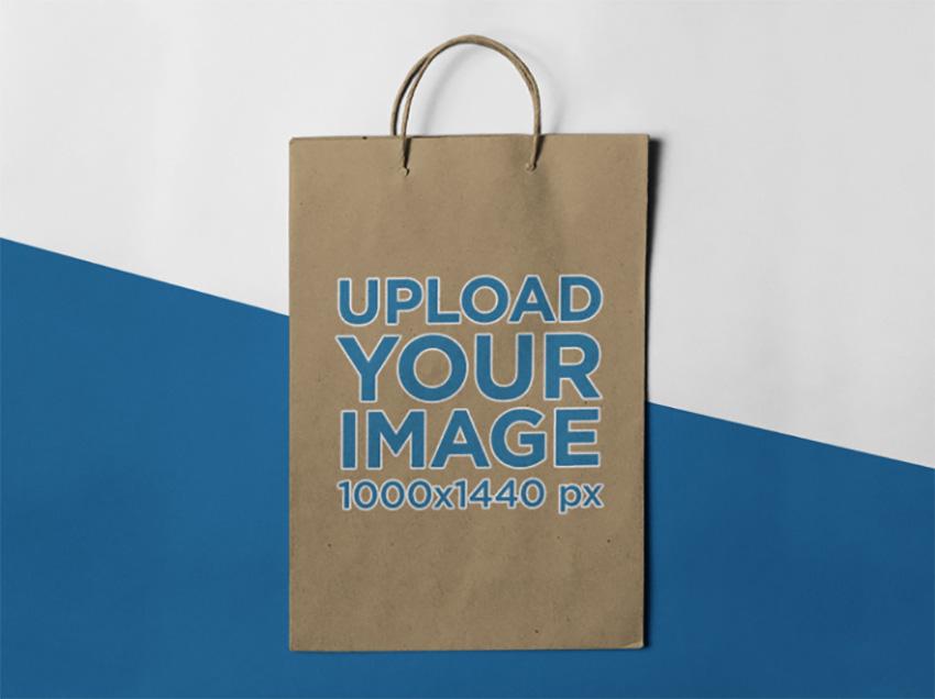Frontal Mockup of a Paper Bag Standing Against a Two Colors Background
