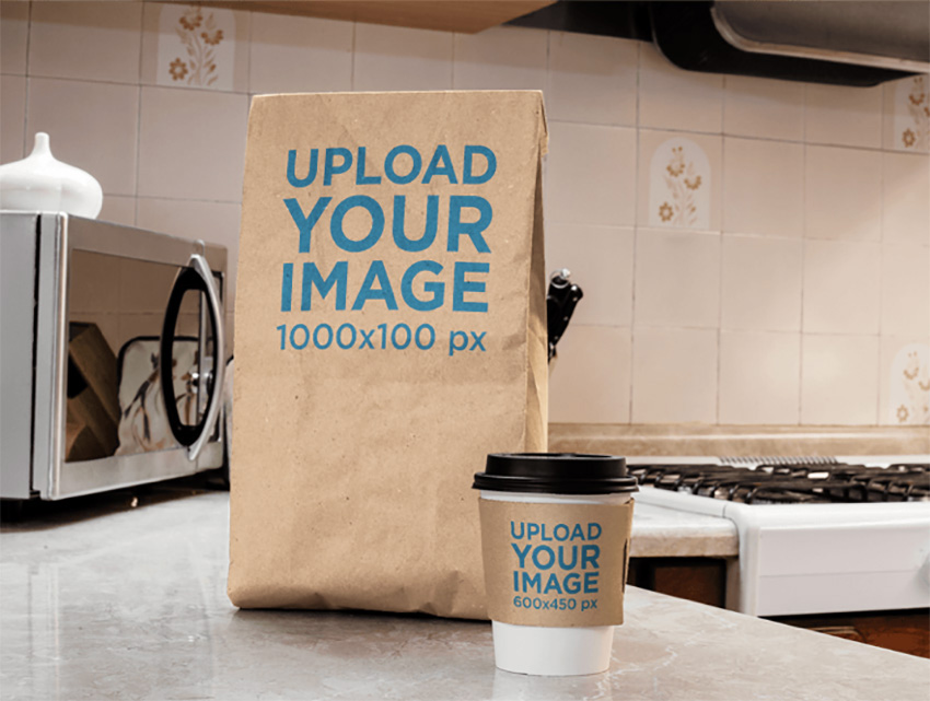Takeaway Coffee Cup and Paper Bag Mockup on Top of a Kitchen Counter