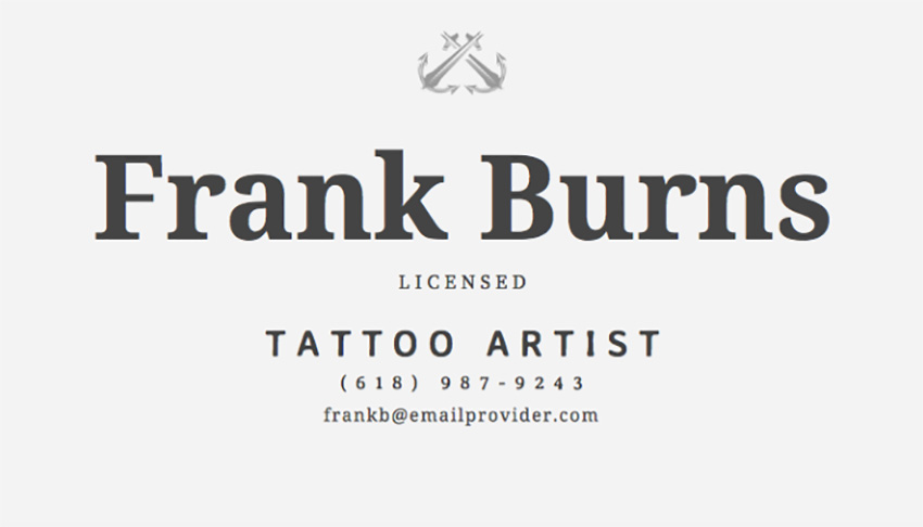 Business Card Maker for Tattoo Parlor with Illustrations