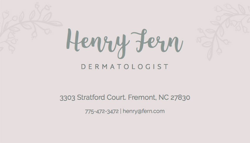 Spa Dermatologist Business Card Maker