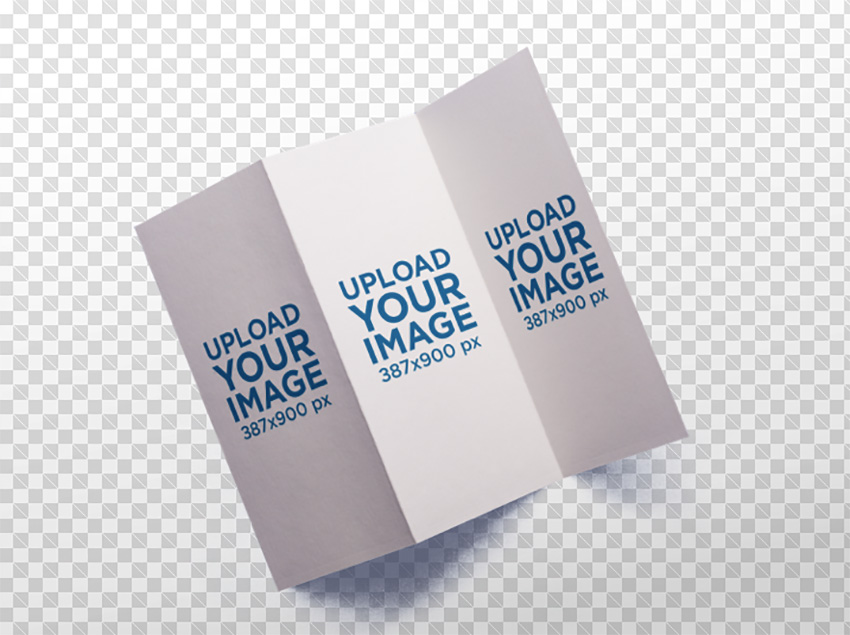 Mockup of a Trifold Brochure Open Against a Transparent Backdrop