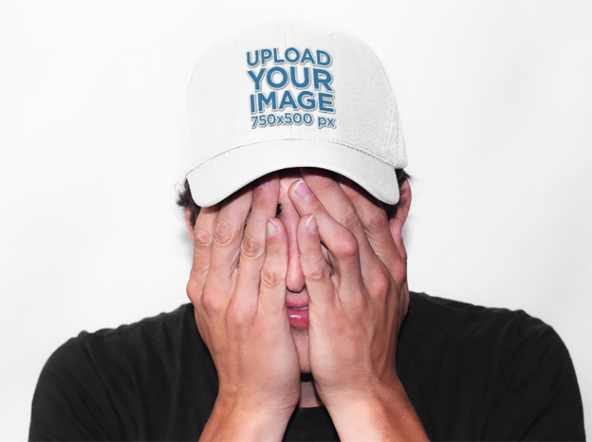 Dad Hat Mockup of a Guy Covering His Face