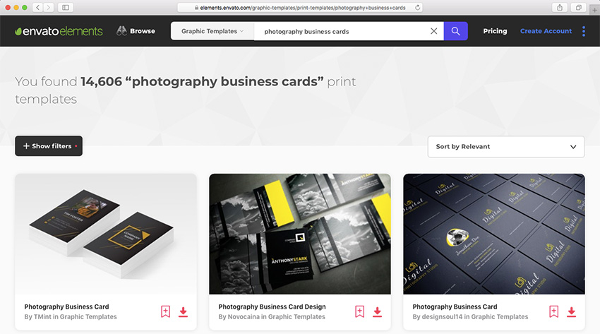 Elements Photography Business Card