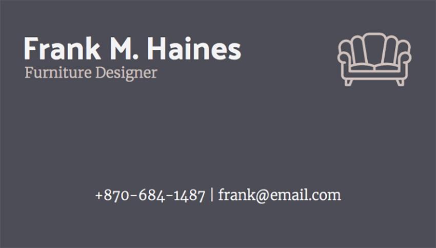 Business Card Maker for Furniture Designers