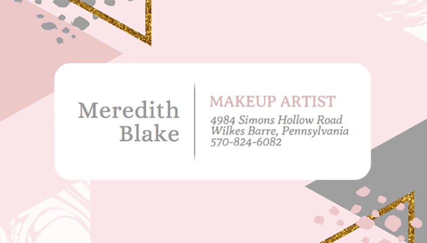 Business Card Template for Makeup Artists with Watercolor Background