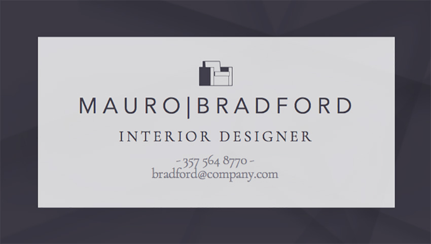 Interior Designer Business Card Template with Minimalist Style