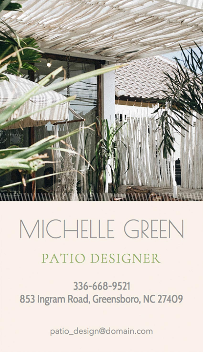 Online Business Card Maker with Patio Design Images