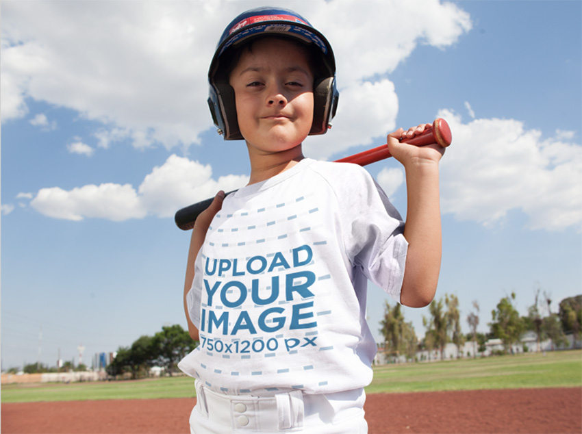 Custom Baseball Uniform Builder - Happy Kid Posing with Youth Baseball Uniform