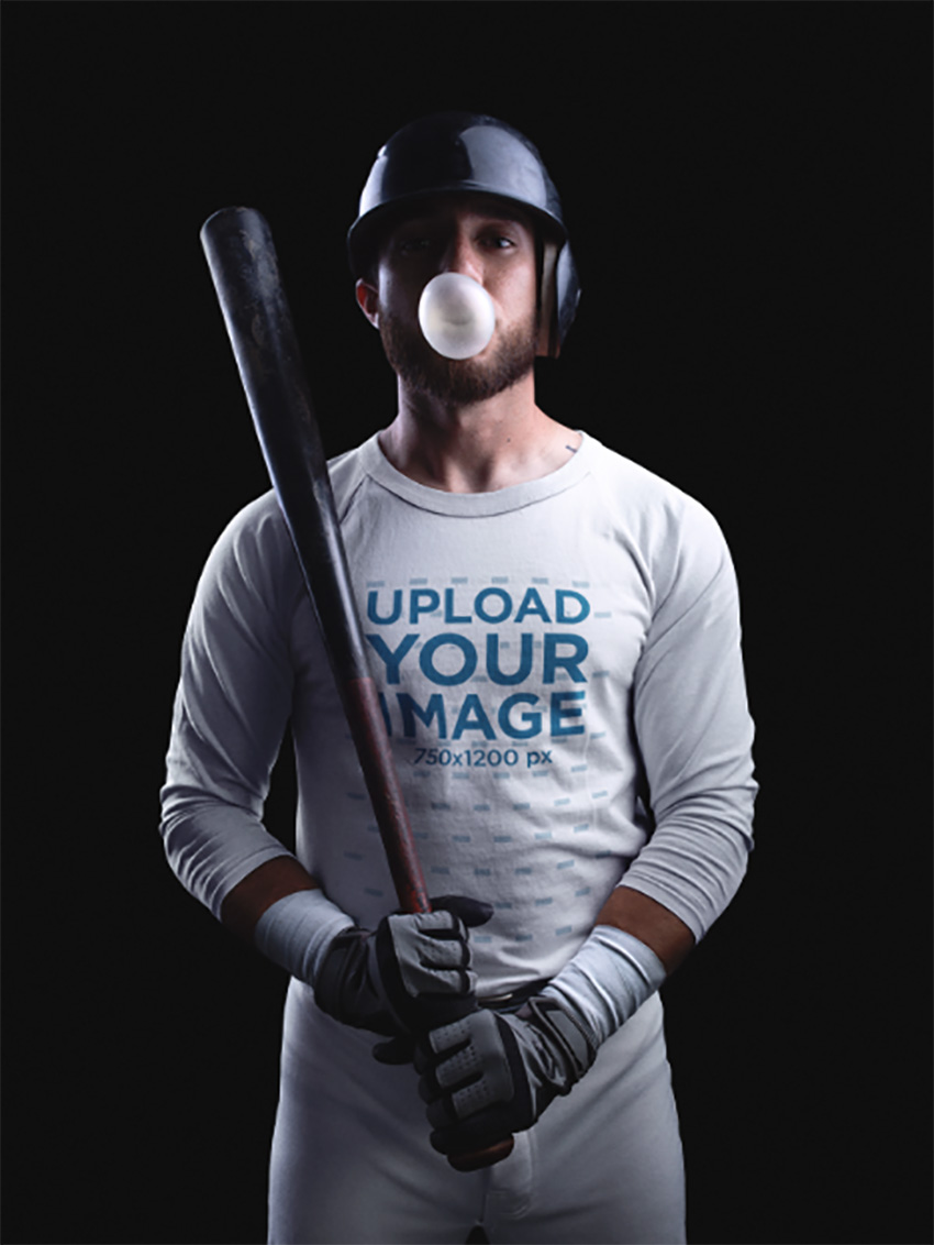 Baseball Uniform Builder Standing Against a Black Background