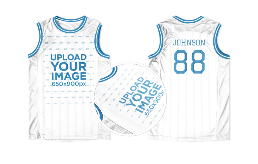 Basketball Jersey Maker - Jersey Front and Back Against Solid Background
