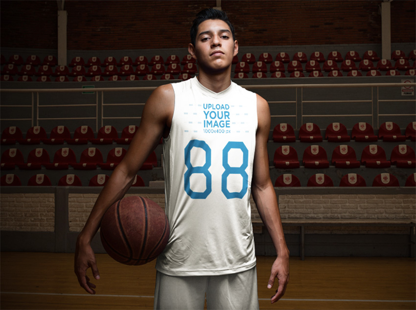 Basketball Jersey Maker - Portrait of a Teen Player in the Court