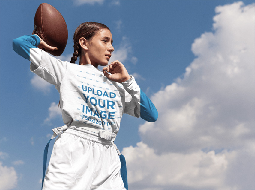 Custom Football Jersey Maker - Little Teen Girl About to Throw the Ball