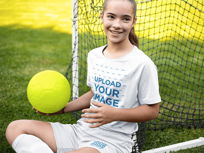 Custom Soccer Jerseys - Happy Girl Sitting Down with the Ball