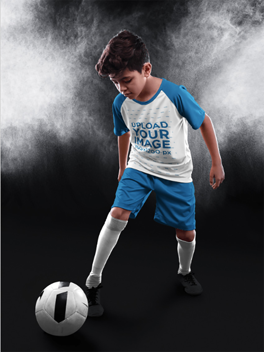 Custom Soccer Jerseys - Kid Dribbling at the Studio