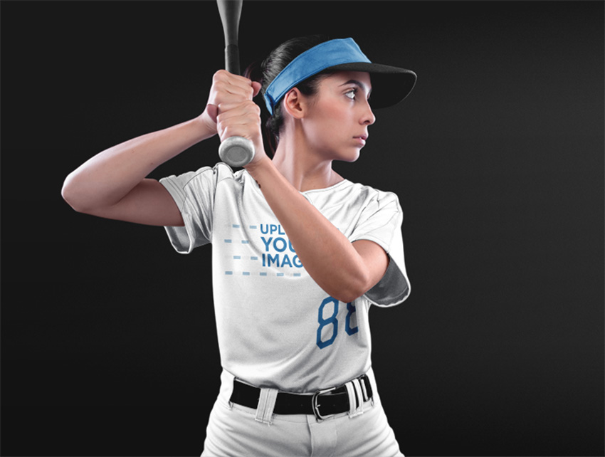 Custom Softball Jerseys - Woman About to Hit the Ball