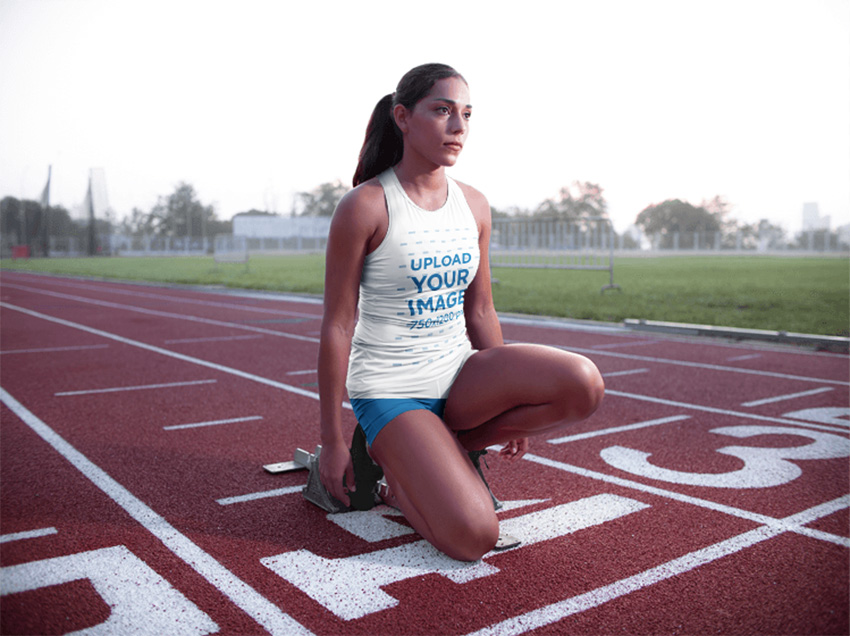 Track and Field Uniforms - Woman Ready to Run at Daylight