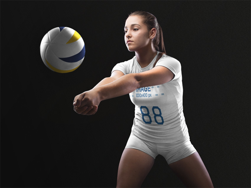Volleyball Jersey Maker - Woman Receiving the Ball