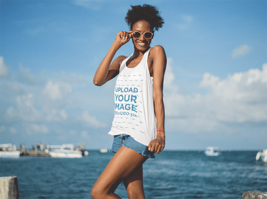 Lovely Tank Top Mockup Featuring a Smiling Young Black Woman at the Beach
