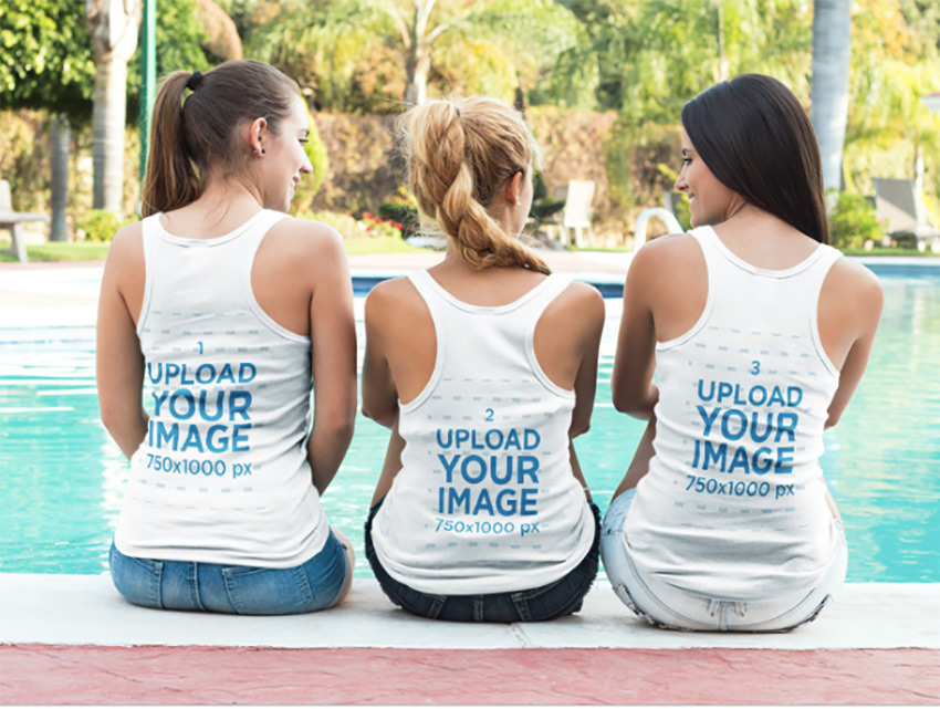 Tank Top Mockup of Three Friends Sitting by a Pool